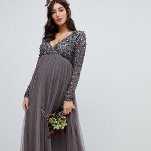 ASOS | Maya Maternity Sequin Plunge Neck Dress 4